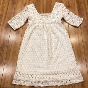 Solitaire by Ravi Khosla Crochet Cream Dress